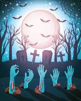 desenho assustador de halloween com mãos de zumbis saindo do chão vetor