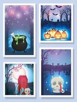 feliz dia das bruxas conjunto de cartão vetor