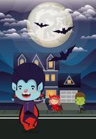 cena da temporada de halloween com crianças na vizinhança vetor