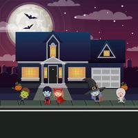 cena da temporada de halloween com crianças fantasiadas na vizinhança vetor