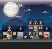cena da temporada de halloween com crianças fantasiadas