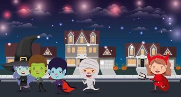 cena de halloween com crianças fantasiadas na vizinhança vetor