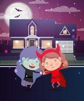 cena de halloween com garotas fantasiadas na vizinhança vetor