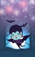 cena da temporada de halloween com criança fantasiada de vampiro vetor