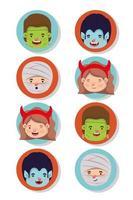 conjunto de crianças com personagens fantasiados vetor