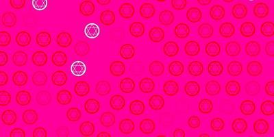 pano de fundo rosa claro, vermelho vector com símbolos de mistério.