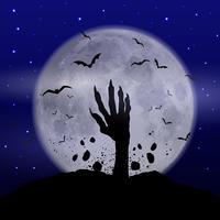 Fundo de dia das bruxas com mão de zumbi vetor