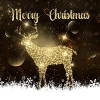 Fundo de Natal com veado brilhante vetor