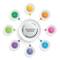 papel de círculo de infográficos com 8 conjunto de modelos de dados vetor