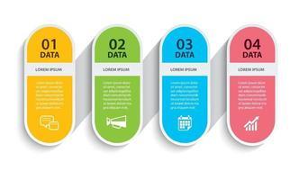 papel oval de cronograma de infográficos com modelo horizontal de 4 dados vetor