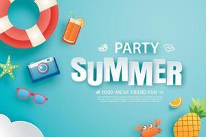 banner de convite de festa de verão com origami de decoração vetor