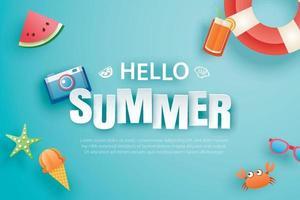 olá verão com origami de decoração em fundo azul vetor