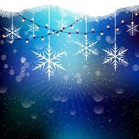 Flocos de neve e luzes de natal vetor
