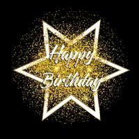 Fundo de feliz aniversário glitter dourados vetor