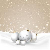 Baubles de Natal na neve vetor