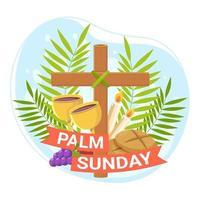 palm sunday com cross design vetor
