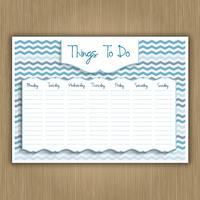 Coisas para fazer planejador semanal vetor