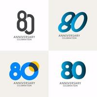 80 anos de comemoração de aniversário compilação logotipo vetor modelo design ilustração