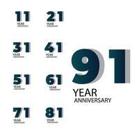 ano aniversário vector template design ilustração azul elegante fundo branco