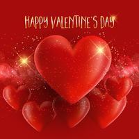 Fundo Dia dos Namorados com corações 3D vetor