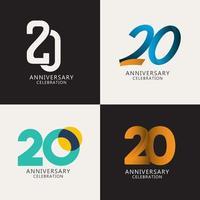 20 anos de comemoração de aniversário compilação logotipo vetor modelo design ilustração