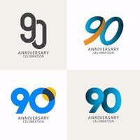 Compilação de comemoração de aniversário de 90 anos logotipo vetor modelo design ilustração