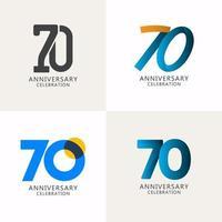 70 anos de comemoração de aniversário compilação logotipo vetor modelo design ilustração