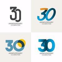 30 anos de comemoração de aniversário compilação logotipo vetor modelo design ilustração