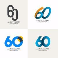 60 anos de comemoração de aniversário compilação logotipo vetor modelo design ilustração
