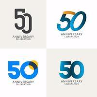 50 anos de comemoração de aniversário compilação logotipo vetor modelo design ilustração