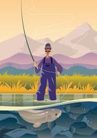 Voar, pescador, pesca vetor