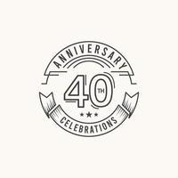 Ilustração de modelo de design de modelo de vetor de celebração de aniversário de 40 anos