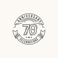 Ilustração de design de modelo de vetor de logotipo de comemoração de aniversário de 70 anos
