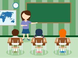 Sala de aula única com vetores de crianças