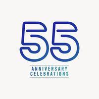 55 anos de comemoração de aniversário número ilustração vetorial de design de modelo