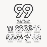Ilustração de design de modelo vetorial número de celebração de aniversário de 99 anos vetor