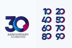 Celebração de aniversário de 30 anos com ilustração de design de modelo vetorial logotipo azul