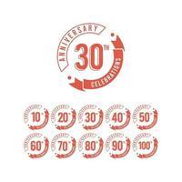 Aniversário de 30 anos definir comemorações elegante ilustração vetorial de modelo