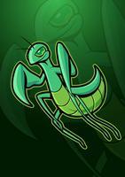 Logotipo de mascote do louva-deus vetor