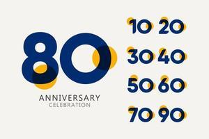 Celebração de aniversário de 80 anos definir ilustração de design de modelo de vetor de logotipo