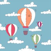 Fundo de balão de ar quente de mão desenhada bonito vetor