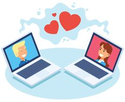 Ilustração em vetor de namoro on-line
