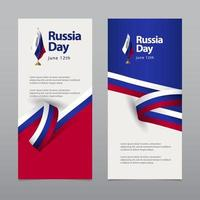 ilustração de design de modelo vetorial feliz celebração do dia da independência da Rússia