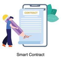 assinatura de conceito de contrato inteligente vetor