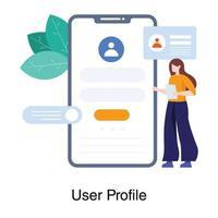 perfil do usuário para o conceito de aplicativo móvel vetor