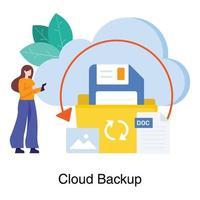 conceito de serviço de backup na nuvem vetor