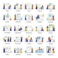 trabalho em equipe e conjunto de conceitos de atividades de escritório vetor