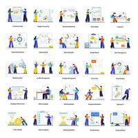 conjunto de conceitos de construção de equipe e escritório vetor