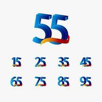 55 anos de comemoração de aniversário número azul ilustração de design de modelo de vetor