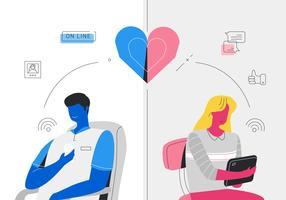 Aplicativos de namoro on-line recebendo correspondência homem e mulher ilustração vetorial vetor